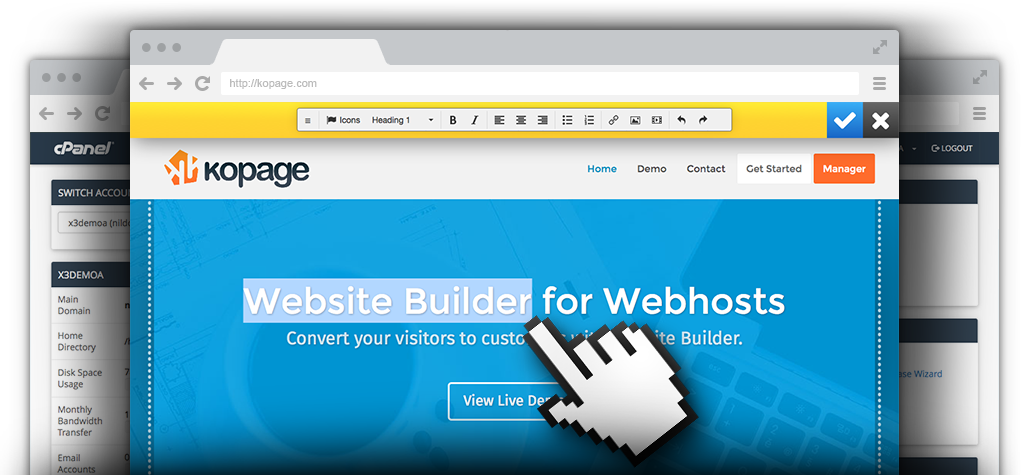 Kopage, Website Builder for Webhosts