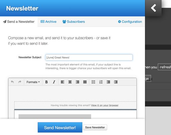 newsletter kopage website builder for webhosts